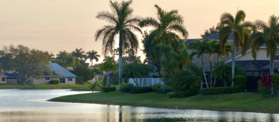 Waterfront Homes In A Florida Neighborhood